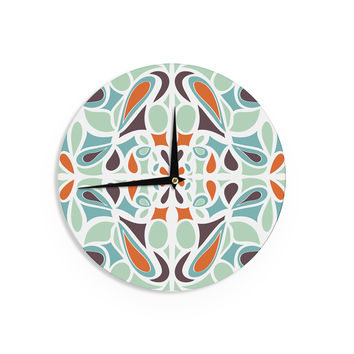 "Miranda Mol ""Orange Purple Stained Glass"" Wall Clock"