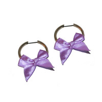 Bby Gurl Bow Hoops - Pastel Grunge Pastel Bows Hoop Earrings 90's Babe Vintage Earrings