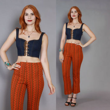 60s High Waist BELL BOTTOMS / 1960s Ethnic Pattern Knit High Waisted Pants XS