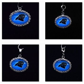 Silver Pendant Charms Rhinestone Carolina Panthers Charms for Bracelet Necklace for Women Men Football Fans Paty Fashion 2017