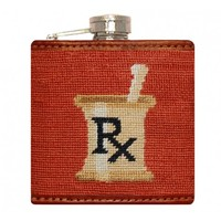 Doctor's Orders Needlepoint Flask in Burnt Orange by Smathers & Branson