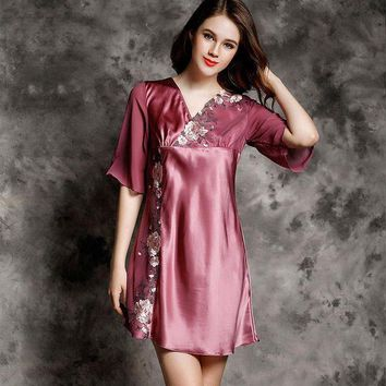 CREYLD1 Nightgowns Women  100% Silk Embroidery Decoration Cross V neck Half Sleeves Solid 3 Colors Elegant Style All Season