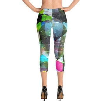 YOGA ART CAPRI Leggings - Sassy Bohemian Style Yoga Pants w/ Bright Psychedelic Print - BEYOND