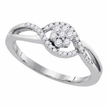 10kt White Gold Womens Round Diamond Flower Cluster Twist Swirl Ring 1/4 Cttw