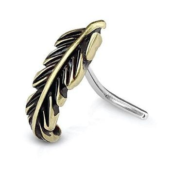 BodyJ4You Nose Ring Stud L-Shaped Tribal Leaf Goldtone Stainless Steel 20G Body Piercing Jewelry
