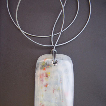 Confetti Wispy White fused glass pendant on leather thong
