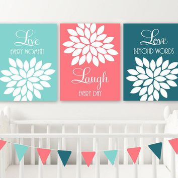Coral Teal Aqua Wall Art,  Live Laugh Love CANVAS or Print Coral Teal Aqua Baby Girl Nursery Decor, Girl Bedroom Pictures, Set of 3 Artwork