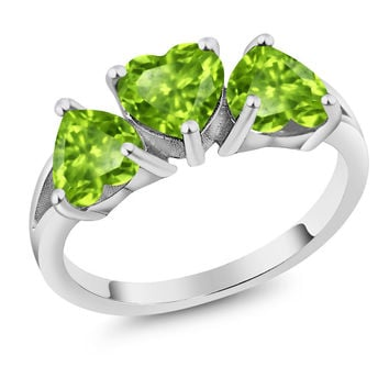 2.49 Ct Heart Shape Green Peridot 925 Sterling Silver Ring