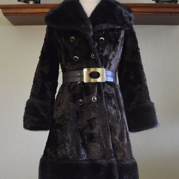 Spectacular Vintage Faux Fur Coat, Belted, Fashionbilt Casuals, Brown and Black with Wide Cuffs and Collar, Circa 1970s