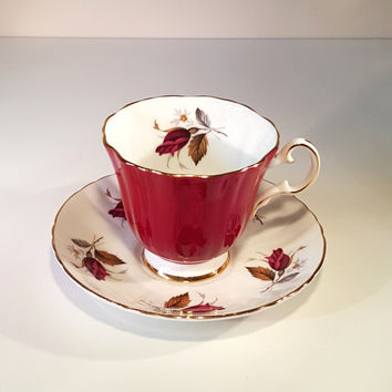 Vintage Royal Grafton Vintage Fine Bone China, Maroon, Deep Red, Roses, Made In England, Footed Cup & Saucer
