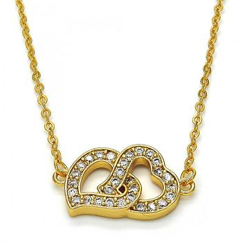 Gold Layered 04.304.0007.18 Fancy Necklace, Heart Design, with White Cubic Zirconia, Polished Finish, Golden Tone