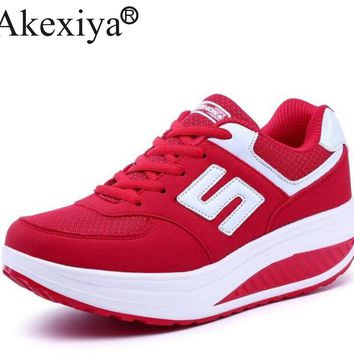 Akexiya Women's Sneakers Platform Wedge Light Weight zapatillas Running Shoes For Woman Swing Shoes Breathable Sports Slimming