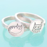 Handmade Gifts | Independent Design | Vintage Goods Silver Kitty Stacking Ring - Rings - Jewelry - Girls