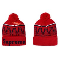 Supreme Women Men Embroidery Beanies Warm Knit Hat Cap