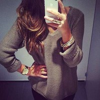Fashion Women Solid Color V neck Long Sleeve Pullover Knitted Jumper Sweater