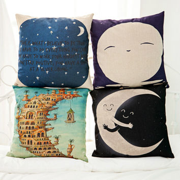The Story Of Fresh Linen Fashion Pillow Set Stars Moon Cushion Cover Lovely Cartoon  Cushions Home Decor Pilow For Child Gift-MM