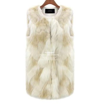 CREYHY3 [NEW] Sexy Fur Vest Women Rabbit Fur Vest Faux Fur Coats For Women Winter Autumn Brand Sale Fur Vest Coat Fashion Outwear S~3XL