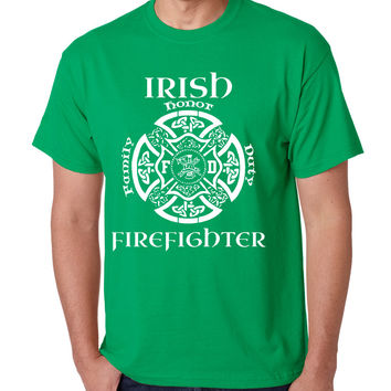 Men's T Shirt Irish Firefighter St Patrick's Patry Irish T Shirt