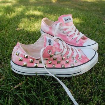 QIYIF coral pink tie dye studded converse all star sneakers