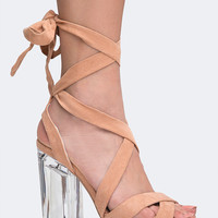 Strappy Clear Heel Sandal