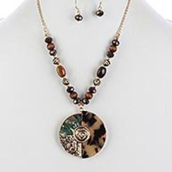 MARBLE FINISH ROUND PENDANT  NECKLACE AND EARRING SET