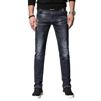 Men Jeans Hole Ripped Stretch Destroyed Jean Fashion Design Men's Casual Jean Skinny Jeans For Male Pants