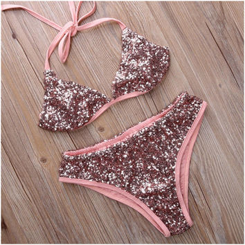 Ladies Halter Swimsuit High Neck Bandage Biquini Thong Swim Bathing Suit Bling Sequin Swimwear Women Brazilian Push Up Bikini