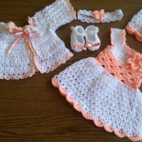 Baby Girl Coming Home Outfit , baby girl dresses, crochet baby outfit, newborn crochet outfit , peach baby girl dress, newborn baby girl