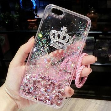 Dynamic Liquid Glitter Sand Soft TPU Silicone Cover For Samsung Galaxy S6 edge S7 edge S8 iPhone Rhinestone Phone Case WithChain