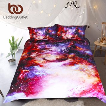 BeddingOutlet Galaxy Bedding Set Queen Size Wolf Duvet Cover Animal 3D Print Colorful Home Textiles Soft Bed Set for Kids
