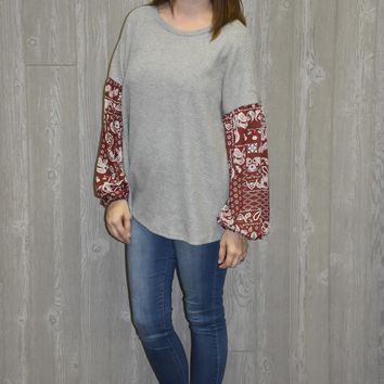 So Easy Print Sleeve Top - Grey
