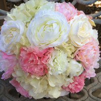 Silk Bridal Bouquet. Real Touch Hydrangea Blush Pink Peony Ranunculus PEACH Roses CREAM Cabbage Roses Silk Wedding Bouquet. Ready to Ship.