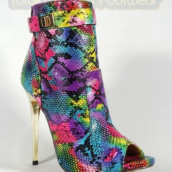 MM Adamarys Colorful Rainbow Snake Open Toe High Heels Ankle Boot