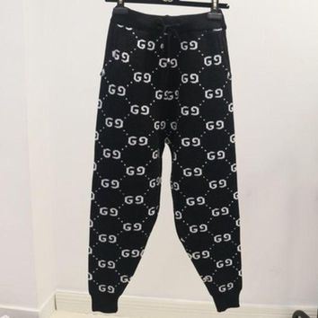 DCCKR2 GUCCI New autumn and winter fashion wild knit pants thickened wide leg harem pants women Black + white letters