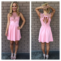 Pink Jenny Lace Babydoll Sleeveless Dress