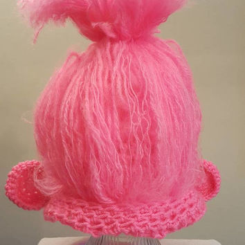 Crochet pink poppy hat. Animal Hat. Made by Bead gs on etsy. ladies size.
