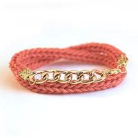 Wrap bracelet with chunky chain, coral bracelet, bracelet with chain, knit bracelet