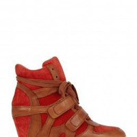 Bea Concealed Wedge Suede And Leather Trainer