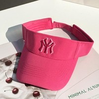 NY Fashion New Embroidery Letter Women Men Sun Protection Cap Hat Rose Red