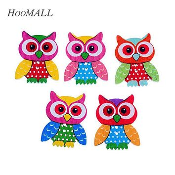 Hoomall Brand 20PCs 2 Holes Owl Wooden Buttons Sewing Scrapbooking Owl Pattern Decorative Buttons 3.5x2.8cm Random Mixed