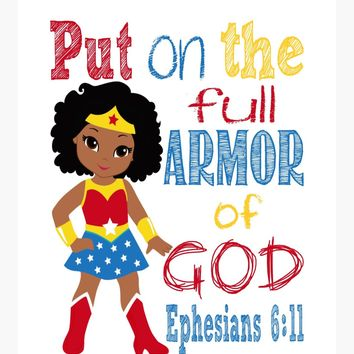 African American Wonder Woman Christian Superhero Nursery Decor Wall Art Print - Put on the Full Armor of God - Ephesians 6:11