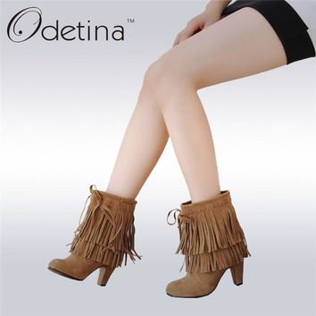Odetina 2017 New Spring Autumn Faux Suede Fringe Ankle Boots Tassels Slip On High Heel Booties Women Pointed Toe Big Size 34-47