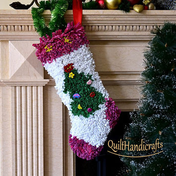 """Christmas Stocking Patchwork in the style """"Lyapochiha"""" Сhristmas decoration Unique gift Holiday Home Decor Christmas boot in vibrant colors"""