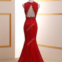 2014 New Fashion Sexy Red Deep V-Neck Cut Out Back Flower Decoration Lace Mermaid Weddings Dress Prom Dresses/Long Sheath GownA071