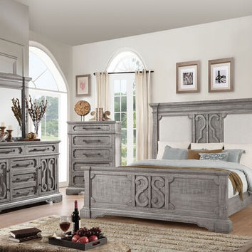 Acme 27090Q 5 pc Artesia II salvaged natural finish wood ornate accens queen bedroom set