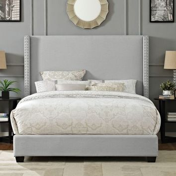 Casey Wingback Upholstered King Bedset In Dove Gray Linen | Overstock.com Shopping - The Best Deals on Headboards