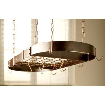 Rogar Potracks 2644 Hammered Copper Oval Pot Rack with Polished Copper Accents