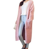 [13850] Women Loose Knit Sweater Knit Cardigan