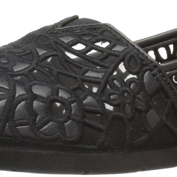 BOBS from Skechers Women's Luxe Fashion Slip-On Flat Black/Black Crochet 7 B(M) US '