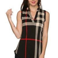 Plaid Print Sleeveless Split Neck Deep V Neck Tunic Blouse Top